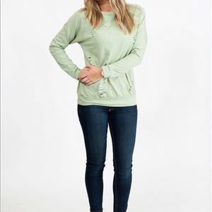 Sweaters - Distressed light green sweatshirt